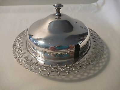 """Butter/Jam dish with glass insert and lid  """"Perfection"""" silver plate"""
