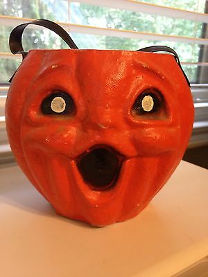 Vintage Halloween Paper Mache Pulp Jack o Lantern Candy Container, USA 1950s