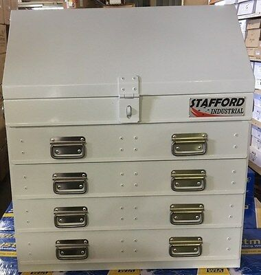 Stafford Steel Fabricated 4 Drawer Heavy Duty Angled Ute Tool Box.