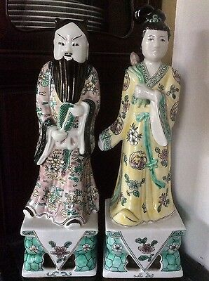 Pair of Chinese Handpainted Porcelain Man and Woman Figurines Statue