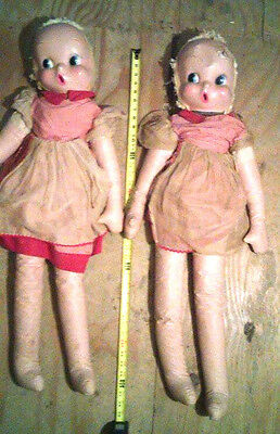 ANTIQUE/VINTAGE 1920s-1930's? 36 IN.LARGE CLOTH & PLASTIC LIKE MATERIAL DOLLS!!!