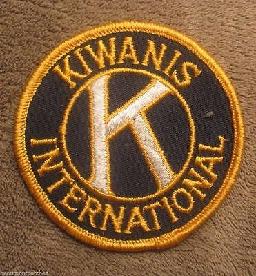 """Kiwanis International Patch - vintage - 3"""" x 3""""  - cheesecloth back"""