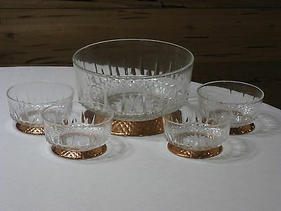 Arcoroc France 5 Pc. Diamant Salad Set with Footed Copper Bases