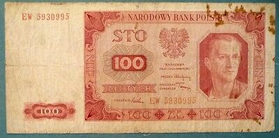 POLAND 100 ZLOTYCH NOTE , 1948 ISSUE, P 139 a