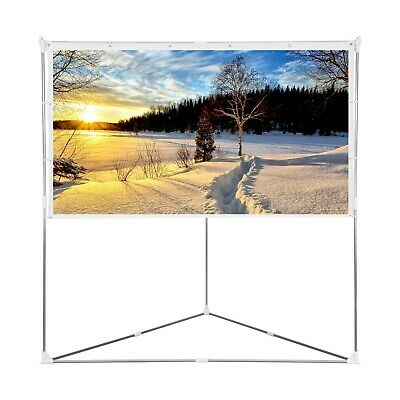 "100"" Tripod 16:9 HD Portable Projector Screen Matte Pull Up w/ Foldable Stand"