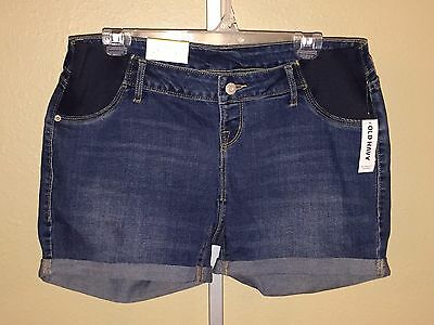 Women's Maternity Old Navy Curvy Denim Jean Stretch Side Panel Shorts, Size 6, 8