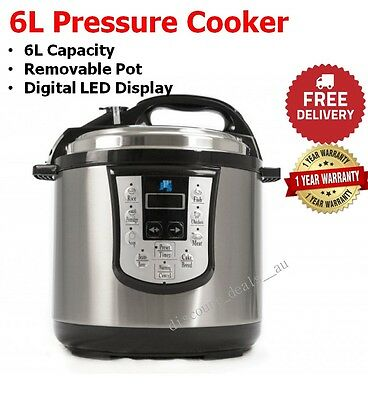 Family Pressure Cooker New 6L Electric Stainless Steel Digital Removable Pot