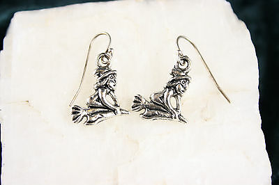 925 sterling silver earrings charm Halloween Witch Broom Rider pewter 1 pair