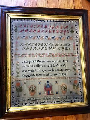 Antique Sampler Frances Watchorn Aged 14 1830s Wisconsin (?) Nice!