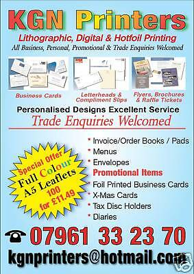 100 A5 Colour Leaflets Flyers Custom Printed / Printing