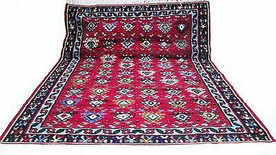"Antique tribal vintage unique handmade hand-knotted rug 99"" x 134"" 100% wool #37"
