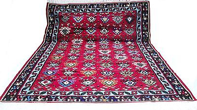 """Antique vintage tribal unique handmade hand-knotted rug 99"""" x 134"""" pure wool #37"""