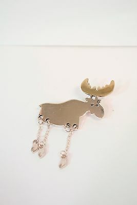 Vintage 925 Sterling Silver Moose Dangling Hooves Brooch Pin Mexico