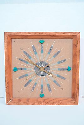 Vtg Navajo Sand Painting wall Clock Turquoise stones Oak Wood Frame Western