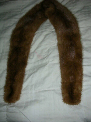 "VINTAGE MINK FUR COLLAR LINED with vintage hook clasp  roughly 44"" long"
