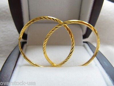 NEW Pure 24K Yellow Gold 20mm Circle Hoop Earrings 2.12g