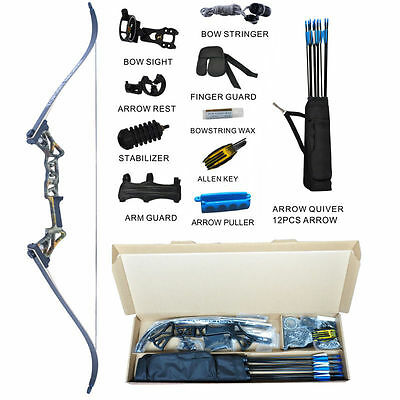 Recurve Bow Set Archery Takedown R3 58 Inch RH Target&Hunting Ready to Shoot