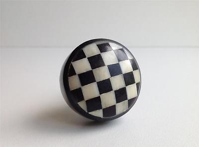 Black and White Checks on Bone Cabinet Knobs Dresser Drawer Pulls Mfg Seconds