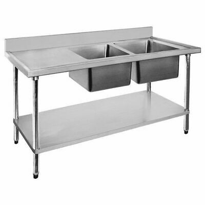 Sink with Left Drainer Double Bowl, Stainless Steel, 1500x700x900mm Commercial