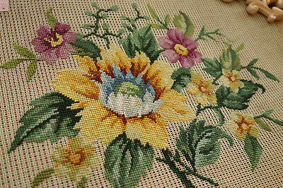 VTG. Hand Crafted Whole Petit Point Sunflower Preworked Needlepiont Canvas