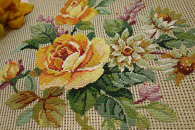 VTG. Handmade Petit Point Yellow Rose Bunch Preworked Needlepiont Canvas