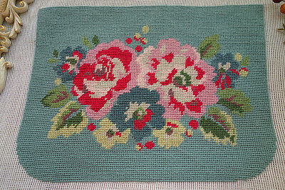 Completed Handmade Country Style Floral Needlepoint Canvas For Handbag