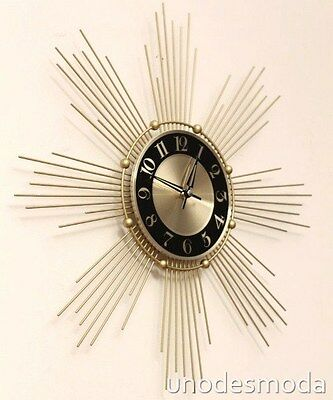 ReTrO Style Starburst Funky WALL CLOCK Sunburst modern decor Vintage Gold Framed