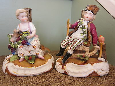TW0 SITZENDORF Porcelain Figurines Young Girl & Goat With a Boy Woodsman EX COND