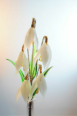White Glass Posy Snowdrops Flowers Handmade HOME ornaments Czech REPUBLIC