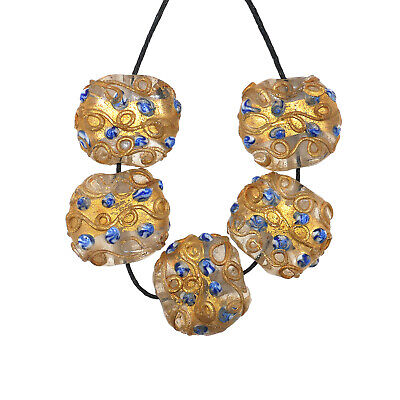 Murano Glass Beads, Gold Leaf Lampwork ,late 19th,early 20th century  (1046)