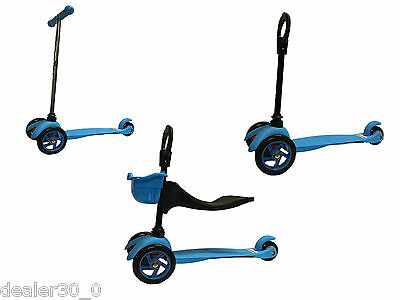 Mini 3 in 1 Kick Scooter with Seat for Babies, Toddlers and Younger Children