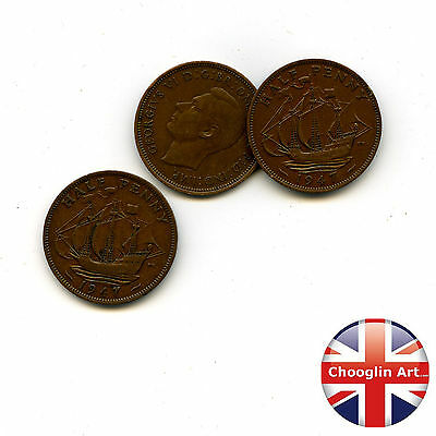 Collection of x3 1947 British Bronze GEORGE VI HALFPENNY Coins