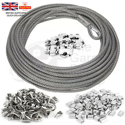 Steel Wire Rope Cable 100mtr x 1mm 2mm 3mm 4mm 5mm Thimble Ferrule Sleeve Clips