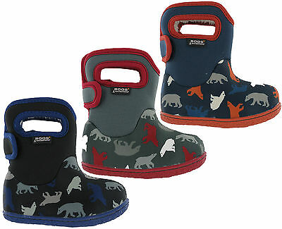 Bogs Polar Bear Wellingtons Neoprene Waterproof Fur Lined Baby -10 Boys Boots