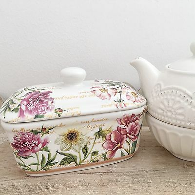 Shabby Vintage Chic Styl Fine China Butter Dish Ditsy Floral Lidded Serving Dish