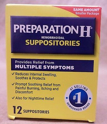 Preparation H Hemorrhoidal Suppositories Multiple Symptoms 12 Count Exp 08/17