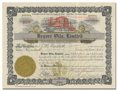 Beaver Oils, Limited Stock Certificate