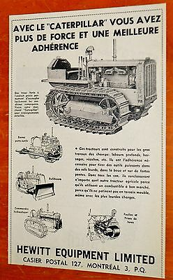 French 1956 Caterpillar Tractor Bulldozer Canadian Hewitt Equipment Ad - Vintage