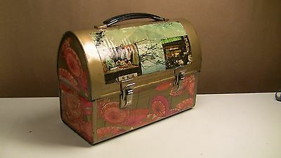 Vintage 60' S Alladin Metal Dome Decoupage Lunchbox Decorated Painted Laquered