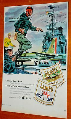 Rcaf Soldier Fighter Plane Art For 1960 Lambs Navy Rum Canadian Ad Vintage 50S