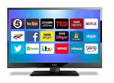 """CELLO 24"""" SMART LED TV Wi-Fi ANDROID APP's FREEVIEW HD USB HDMI HD720P"""