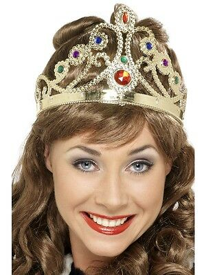 Queens Gold Crown with Jewels Fits Adults & Kids Fancy Dress Accessory