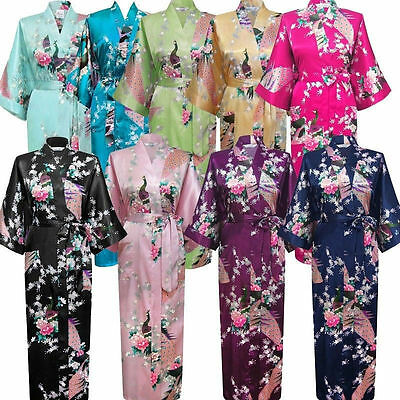 NEW Bridesmaid Peacock Long Kimono Robe Wedding Women Satin Silk Sleepwear 2017