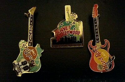 Hard Rock Cafe Planet Hollywood Pins Lot of 3 GREAT STOCKING STUFFERS