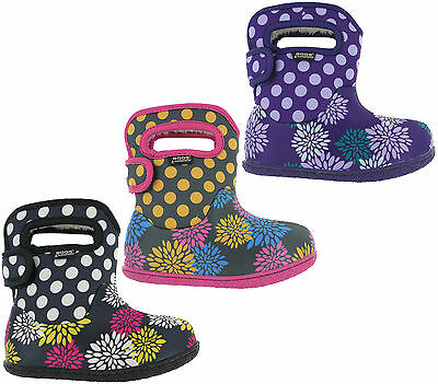 Bogs Pompon Dot Wellingtons Waterproof -10 Fur Lined Girls Baby Kids Boots UK5-9