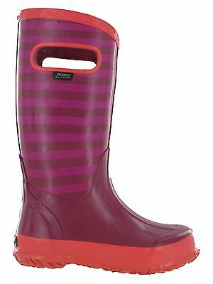 Bogs Rain Stripe Wellingtons Waterproof Rubber Girls Kids Calf Wellies Boots