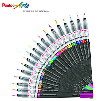Pentel Color Brush GFL Pennello Colore Ricaricabile in 18 Brillanti Colori
