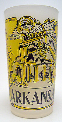 Vintage Hazel Atlas Frosted State Souvenir Drink Glass Arkansas Map 1950's EUC