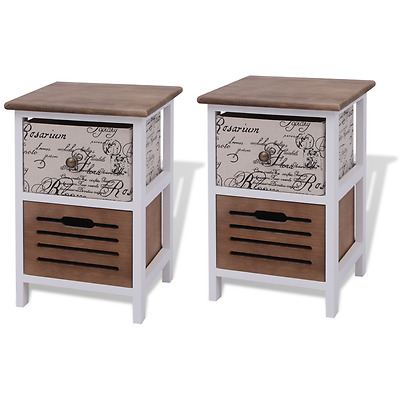 Brown Bedside Cabinets Nightstands Pair Wooden Bed Side Tables Lamp Side Night