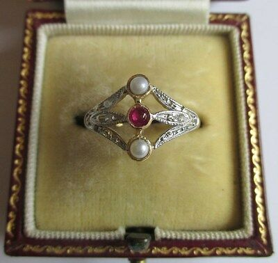 Bague Trilogie ancienne - Rubis perles diamants - Gold ring or 18 carats 750